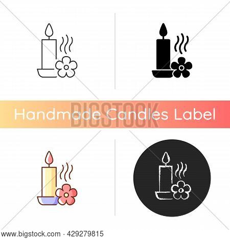Scented Candle Manual Label Icon. Fragrant Oils And Wax Mixture. Burning With Pleasant Aroma. Linear