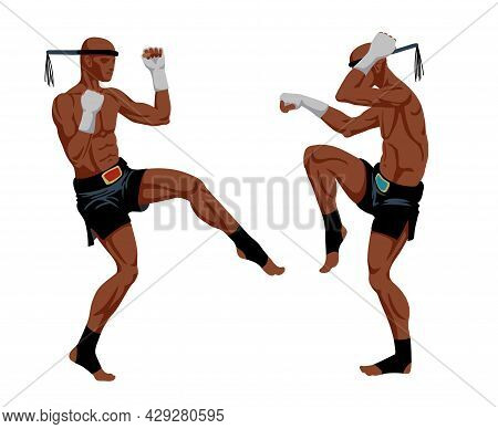 Muay Thai Boxers In Sports Pants, Traditional Ritual Dance Before The Fight, Ancient Martial Art, Co