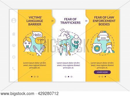 Human Trafficking Victims Onboarding Vector Template. Responsive Mobile Website With Icons. Web Page