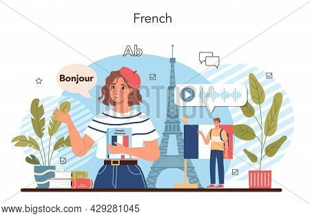 French Learning Concept. Language School French Course. Study Foreign