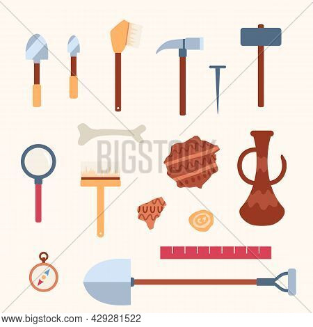 Set Tools For Work Of Scientists Archaeologists At Archeology Excavations.