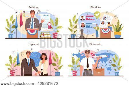 Politician Concept Set. Election And Democratic Governance. Political Party