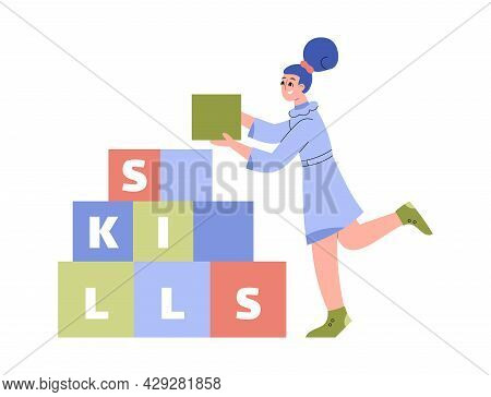 Self-improvement Concept Metaphor With Woman In Flat Vector Illustration