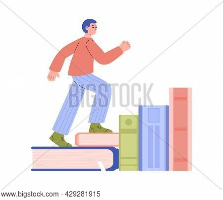 Metaphor For Self-improvement Concept With Man Climbing Book Staircase