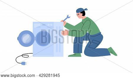Plumber Fixing Washing Machine In Flat Vector Illustration Isolated