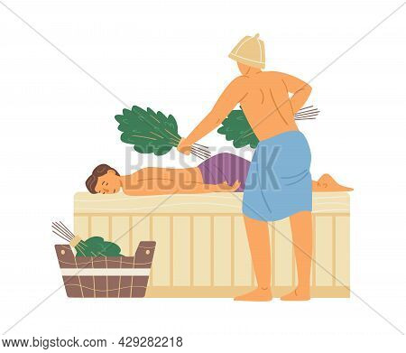 Men Steaming In Steam Bath Or Sauna Flat Vector Illustration Isolated.