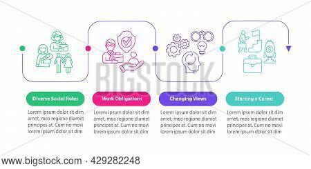 Diverse Social Roles Vector Infographic Template. Work Obligations Presentation Outline Design Eleme