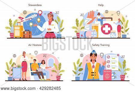Stewardess Concept Set. Flight Attendants Help Passenger In Airplane.