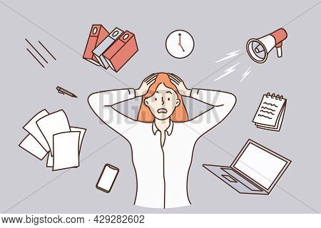 Stress, Burnout, Feeling Tired Concept. Young Stressed Woman Worker Cartoon Character Standing Touch