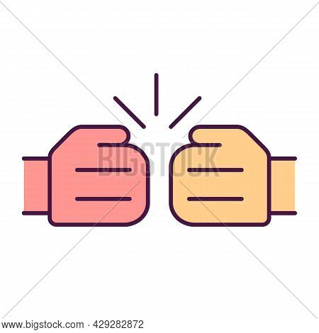 Rivalry Sign Rgb Color Icon. Fist Punching Each Other. Struggle To Win. Fighting Opponents. Competit