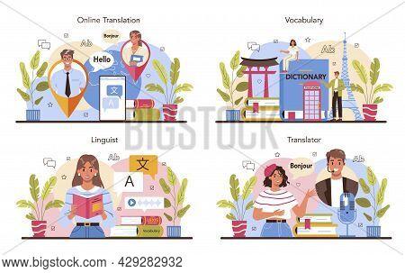 Translator Concept Set. Linguist Translating Document, Books And Speach.