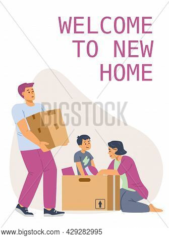 Welcome To New Home And House Moving Banner, Flat Vector Illustration.