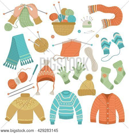 Knitted Wool Clothes. Hands Craft Hobby Fashion Cold Weather Clothes Cardigans Scarf Sweater Fabric