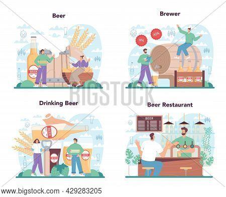 Beer Concept Set. Glass Bottle And Vintage Mug With Craft Alcohol Drink