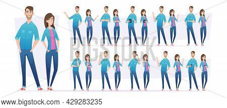 People In Jeans. Male And Female Characters In Casual Style Clothes Standing In Action Poses With Di