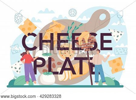Cheese Plate Typographic Header. Professional Chef Making Block