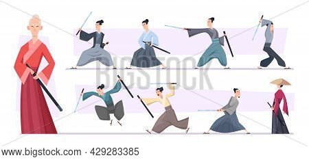 Samurai Warriors. Aggressive Asian Samurai Fighters With Sword Exact Vector Characters In Action Pos