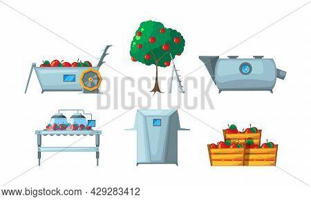 Juice Production. Fruits Plants Beverage Conveyor Industry Production Apple Juice Garish Vector Illu