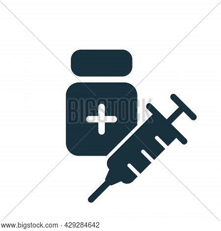Coronavirus Vaccine Silhouette Icon. Syringe With Bottle. Vaccine Against Covid. Syringe And Vaccine