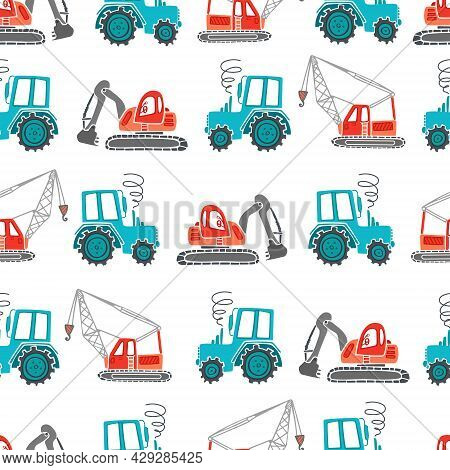 Childrens Construction Machinery Seamless Pattern. Cartoon Illustration For Boys In A Scandinavian S