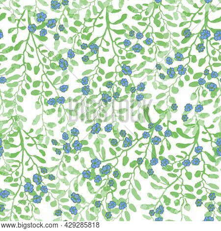 Vector Seamless Pattern With Colorful Illustration Of Cute Small Flowers On Flowering Bush. For Wall