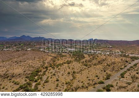 Panorama Near Mountain Desert Landscape Scenic Aerial View Of A Suburban Settlement In A Beautiful H