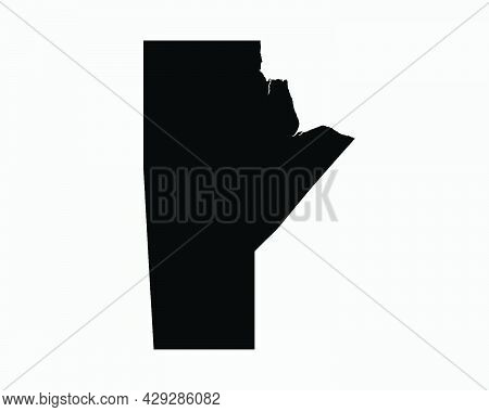 Manitoba Canada Map Black Silhouette. Mb, Canadian Province Shape Geography Atlas Border Boundary. B