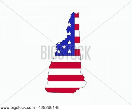 New Hampshire Map On American Flag. Nh, Usa State Map On Us Flag. Eps Vector Graphic Clipart Icon