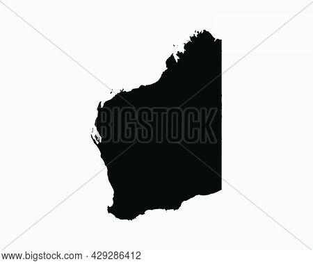 Western Australia Map Black Silhouette. Wa, Australian State Shape Geography Atlas Border Boundary.