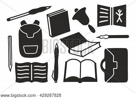 School Supplies Silhouette Black And White For Plotter Cutting Svg. Book Textbook Satchel Pens Penci
