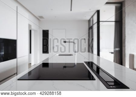 Stylish Kitchen Done In Minimal Monochrome Theme With Built In Cooking Appliances, Countertop With G