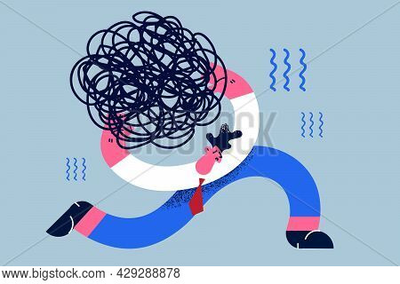 Stress Burden, Difficulty, Crisis Concept. Tired Exhausted Businessman Cartoon Character Running Car