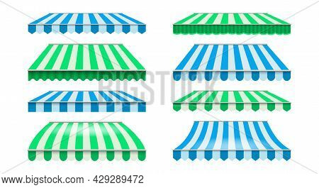 Shops Striped Canopy. Restaurants Shade Roof And Windows Awnings, Summer Shopping Markets Tents, Vec
