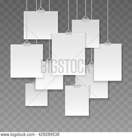 Gallery Hanging Cards. Photo Galleries Picture Strings Frames, White Posters Board Mockup Signs, Pap