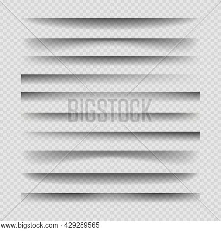 Transparent Divider Shadows. Shading Effect Dividers Vector Illustration, Shadow Shade Out Paper Pag