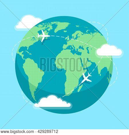 World Round Flights. Earth Around Aeroplane Travel Flight Vector Illustration, Business Plane Globe