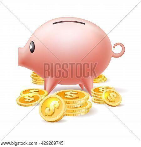 Piggybank. Coin Deposits Pig Bank Vector Illustration, Money Saving Pigbank Moneybox With Cash Coins