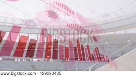 Image of coronavirus cells and diagrams floating over empty stadium. Global Covid 19 coronavirus pandemic sport concept digitally generated image.