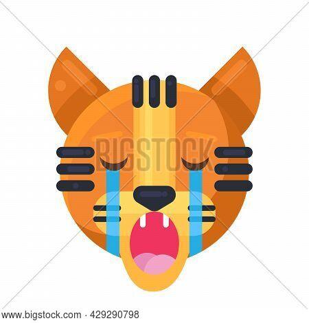 Tiger Crying Expression Cute Funny Emoji Vector