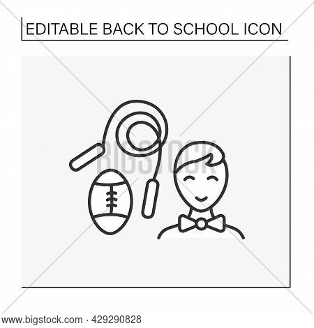 Pe Line Icon. Physical Education Lesson. Schoolboy On With Special Equipment. Ball And Skipping Rope