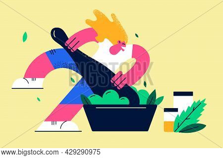 Natural Ingredients, Ayurvedic Remedy Concept. Positive Woman Cartoon Character Grinding Plants And