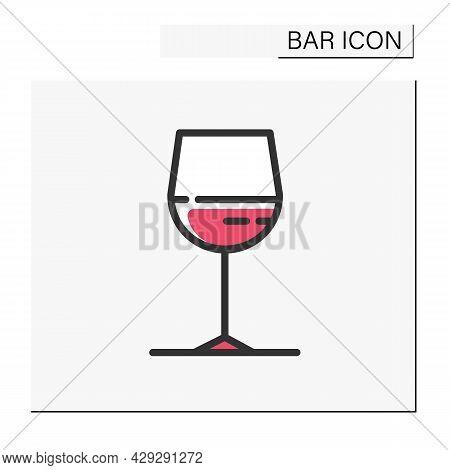 Wine Glass Color Icon. Alcohol Stemware.party Drink. Restaurant, Night Club, Bar Menu. Wine, Champag