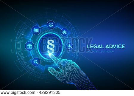 Paragraph As A Sign Of Justice And Law. Labor Law, Lawyer, Attorney At Law, Legal Advice Concept On