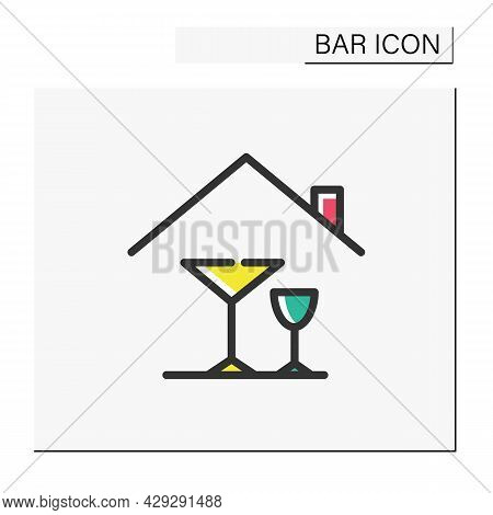 Home Alcohol Bar Color Icon. Mini Bar. Home Party, Celebration. Home Interior, Furniture. Cocktail P