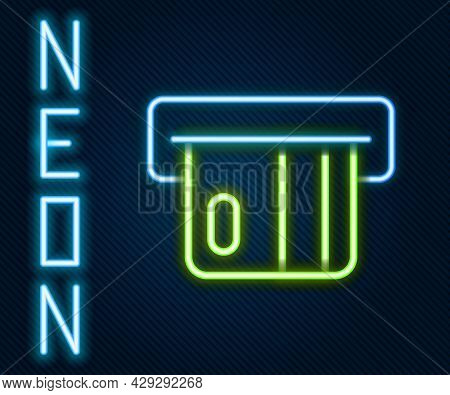 Glowing Neon Line Credit Card Inserted In Card Reader Icon Isolated On Black Background. Atm Cash Ma
