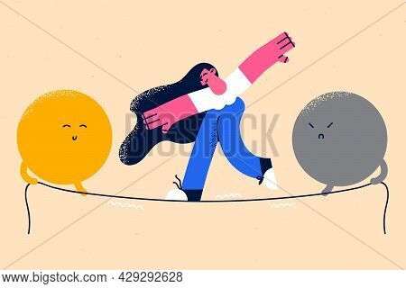 Emotional Balance And Harmony Concept. Female Cartoon Character Standing Balancing On Slackline With