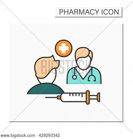 Specialty Drugs Color Icon. Specialty Pharmaceuticals. Doctor Appointment. Injections And Treatment.