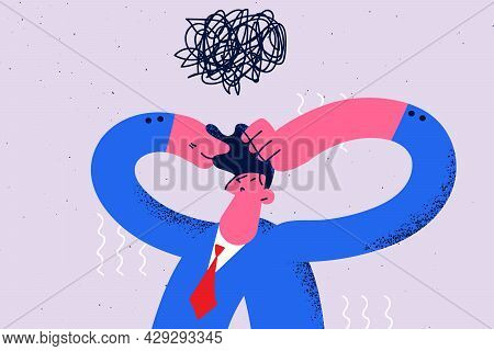 Complicated Difficult Making Decision Concept. Frustrated Man Cartoon Character Businessman Standing
