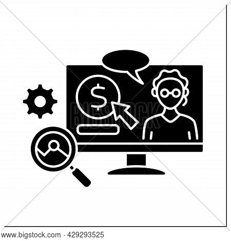 Science Glyph Icon. Donations In Science And Analysis. Digital Tips For Research And Development In