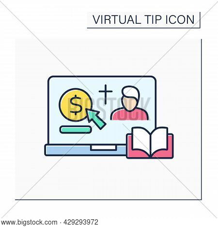 Donation Color Icon. Online Contribution For Church And Priest. Virtual Money Thanks For Services. O